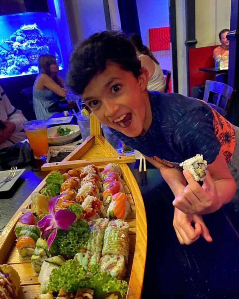 Child at Tsunami Sushi in Sarasota